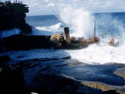 The seas smash into the wreck